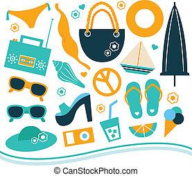błękitny, lato, komplet, -, element, projektować, pomarańcza