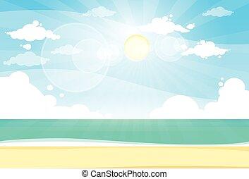 błękitny, lato, słońce, niebo, urlop, brzeg, piasek morze, ...