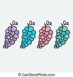 błękitny, lato, winogrono, różowy, owoc, słodki, -, zagroda, ilustracja, natural., jesień, temat, smakowity, zielony, fiołek, grapes., hand-drawn