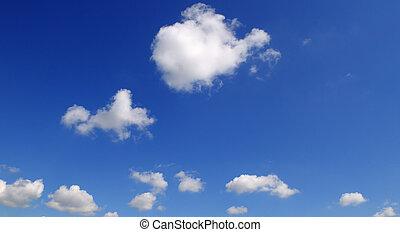 błękitny lekki, chmury, sky.
