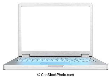 błękitny lekki, laptop, skutek, keyboard., ekran