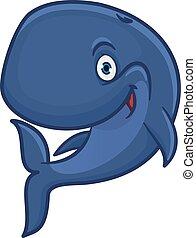 błękitny, litera, rysunek, sperma, uśmiechanie się, wieloryb