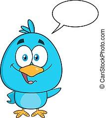 błękitny, litera, sprytny, ptak, rysunek
