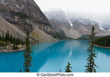 błękitny, lodowiec, jezioro polewają, 2, morain