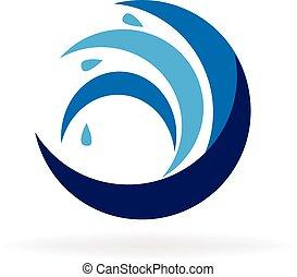 błękitny, logo, fale