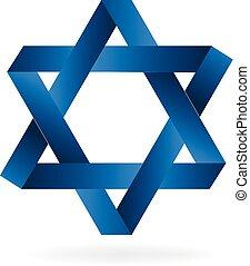 błękitny, logo, projektować, gwiazda
