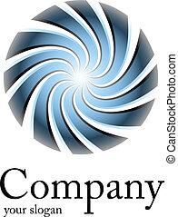 błękitny, logo, spirala