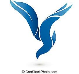 błękitny, logo, wektor, ptak, ikona