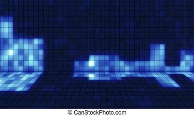 błękitny, loopab, kwadraty, promieniejący, muzyczny
