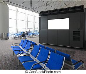 błękitny, lotnisko, czysty, tablica ogłoszeń, międzynarodowy, krzesło
