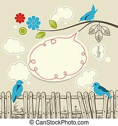 błękitny, mówiąc, pojęcie, ptaszki, komunikacja