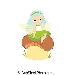 błękitny, mała dziewczyna, posiedzenie, lekki, litera, ilustracja, grzyb, włosy, wektor, las, wróżka, godny podziwu, skrzydełka, rysunek