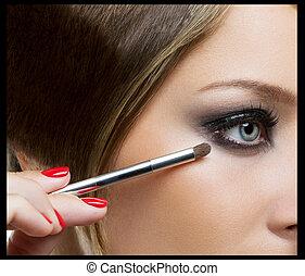 błękitny, makijaż, piękno, eyes.