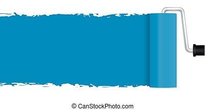 błękitny, -, malarstwo, wałek, malować