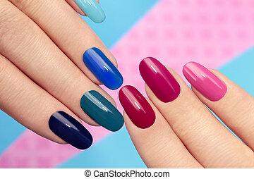 błękitny, manicure., różowy