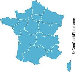 błękitny, mapa, 13, metropolita, okolice, podzielony, since, ilustracja, francja, wektor, 2016., administracyjny