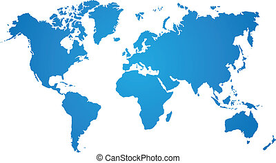 błękitny, mapa, białe tło, świat