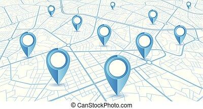 błękitny, mapa, drogi, tło, szpilki, nawigator, biały, gps