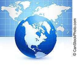 błękitny, mapa, kula, tło, świat