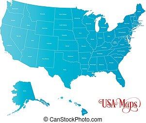 błękitny, mapa, zjednoczony, nazwa, kolor, ilustracja, stany, tło, biały, ameryka
