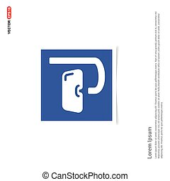 błękitny, maska, ułożyć, -, fotografia, ikona, pływacki
