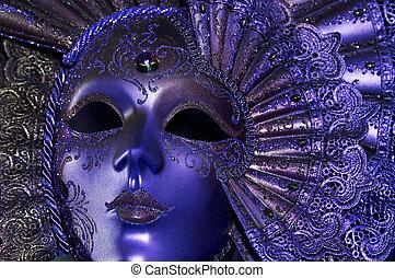 błękitny, maska