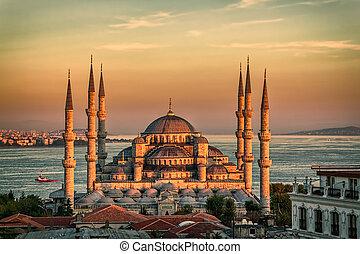 błękitny, -, meczet, zachód słońca, istambuł