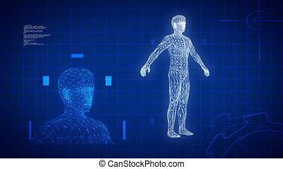 błękitny, medyczna nauka, futurystyczny, tło