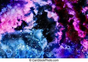 błękitny, mgławica, przestrzeń
