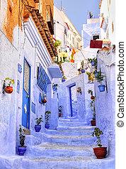 błękitny, miasto, chaouen, marokańczyk, ulica, medyna,...