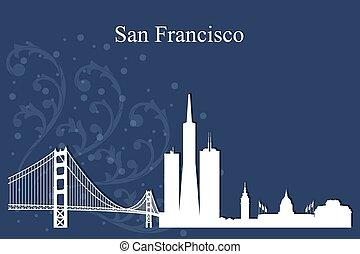 błękitny, miasto, francisco, sylwetka, san, sylwetka na tle ...