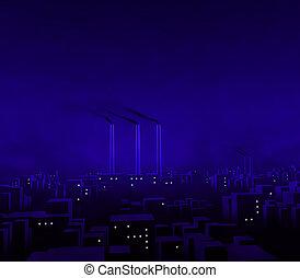 błękitny, miasto, noc