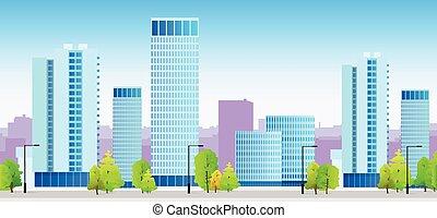 błękitny, miasto, profile na tle nieba, gmach, ilustracja,...