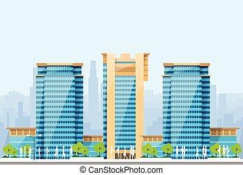 błękitny, miasto, profile na tle nieba, gmach, nowoczesny, ilustracja, architektura, cityscape