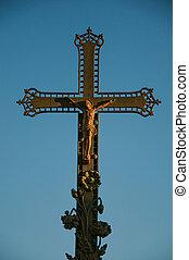 błękitny, miasto, szczelnie-do góry, środek, niebo, krzyż, chateauneuf-de-gadagne., zachód słońca
