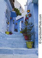 błękitny, miasto ulica