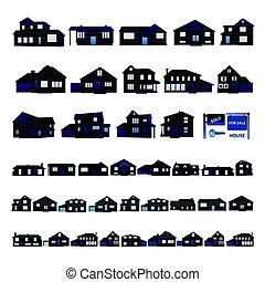 błękitny, mieszkaniowy, dom, sylwetka, odizolowany, na białym