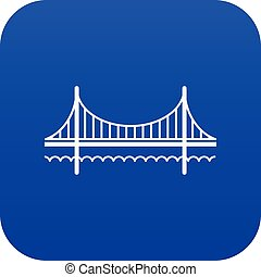 błękitny, most, złoty, wektor, brama, ikona