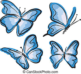 błękitny, motyl, ilustracja