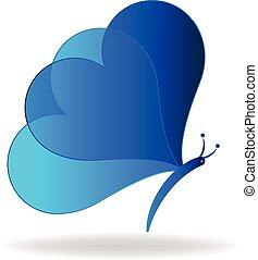 błękitny, motyl, logo