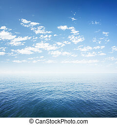 błękitny, na, niebo, powierzchnia, ocean polewają, morze,...