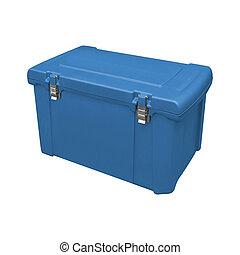 błękitny, na, odizolowany, handheld, biały, chłodnia