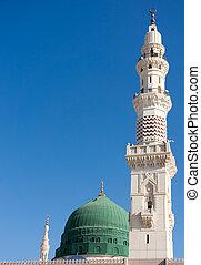 błękitny, nabawi, mekka, sky., wieże, po, meczet, holiest, ...