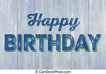błękitny, napis, ściana, drewniany, urodziny, szczęśliwy