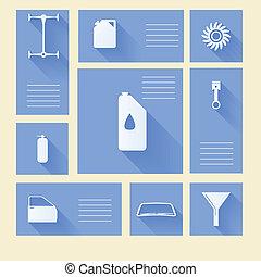 błękitny, naprawa, ikony, auto, wektor, miejsce, tekst