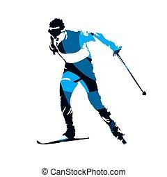 błękitny, narciarz, kraj, abstrakcyjny, krzyż, odizolowany, wektor, sylwetka