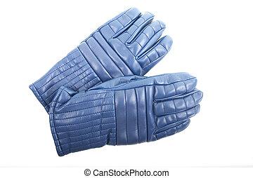 błękitny, narta, białe rękawiczki