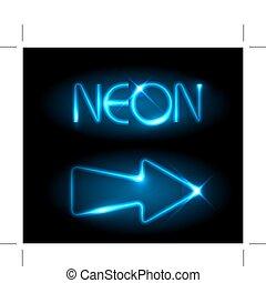 błękitny, neon, strzała