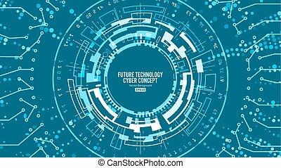 błękitny, network., vector., abstrakcyjny, techniczny, system, projektować, tło, cyfrowy, bezpieczeństwo, elektronowy, futurystyczny, print.