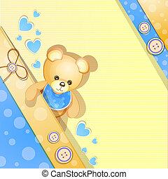 błękitny, niemowlę, karta, przelotny deszcz